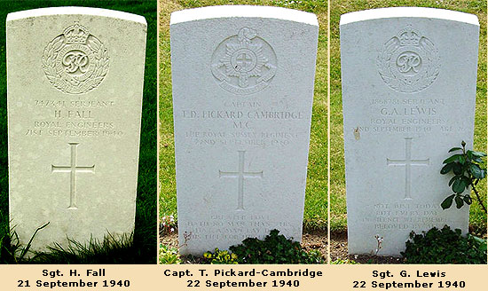 Graves of Sgt. Fall, Capt. Pickard-Cambridge and Sgt. Lewis, September 1940